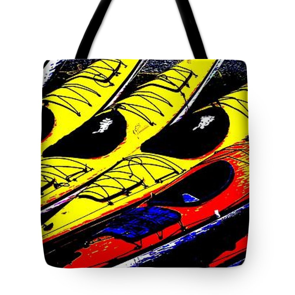 Kayaks Tote Bag featuring the photograph Kayaks Ashore by Roxy Hurtubise
