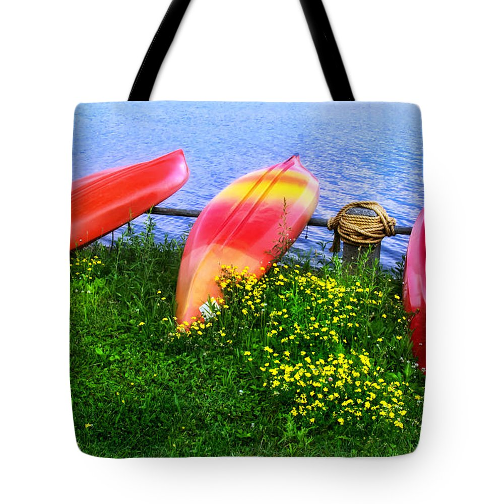 Kayaks At Lake Galena Tote Bag featuring the photograph Kayaks At Lake Galena by Carolyn Derstine