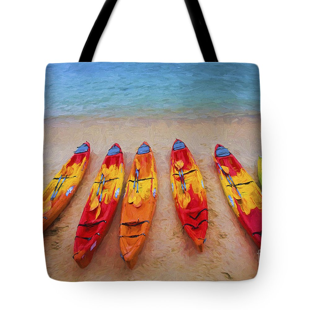 Kayaks Tote Bag featuring the photograph Kayaks at Manly by Sheila Smart Fine Art Photography