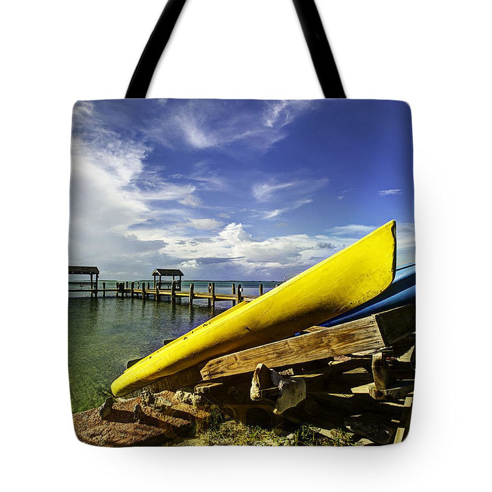 Florida Keys Tote Bag featuring the photograph Kayaks by Bruce Bain