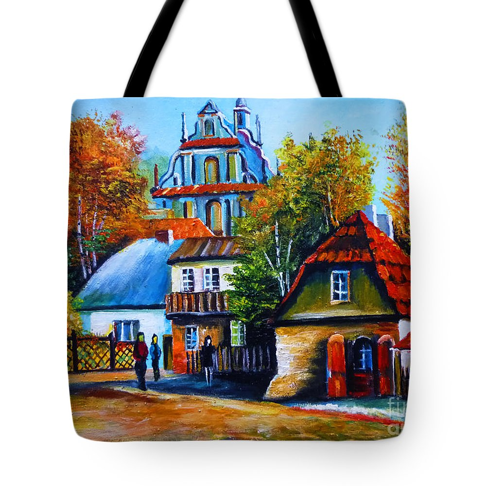 Kazimierz Dolny Tote Bag featuring the painting Kazimierz Dolny In Fall by Ryszard Sleczka