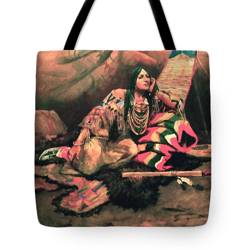 Keema Indian Princess Tote Bag featuring the digital art Keema Indian Princess by Charles Russell