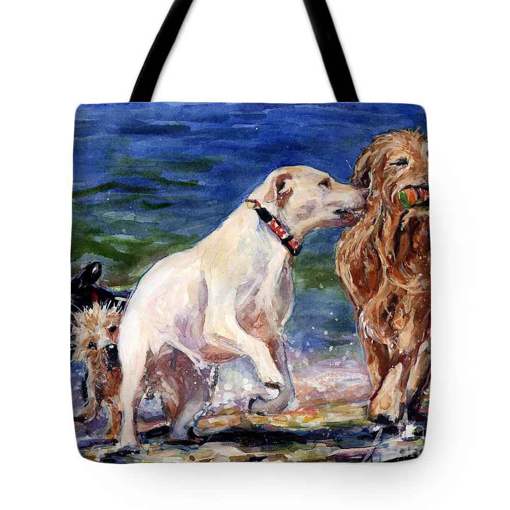 Yellow Labrador Retriever Tote Bag featuring the painting Keep Away by Molly Poole