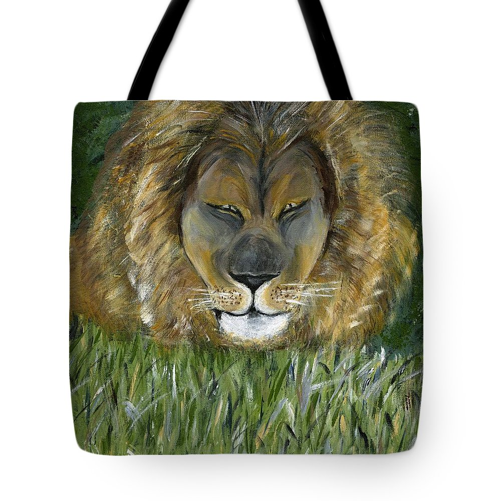 Lion Tote Bag featuring the painting Keep Off The Grass by Alice Faber
