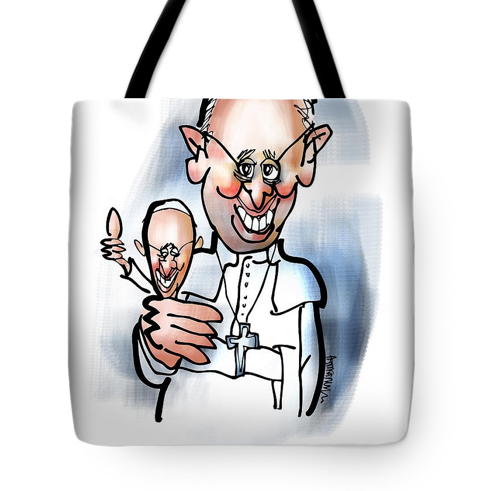 Pope Tote Bag featuring the digital art Keep The Faith by Mark Armstrong