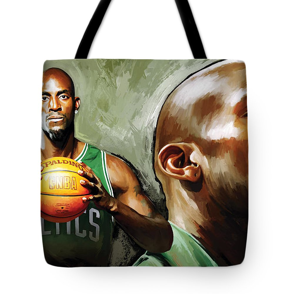Kevin Garnett Tote Bag featuring the painting Kevin Garnett Artwork 1 by Sheraz A