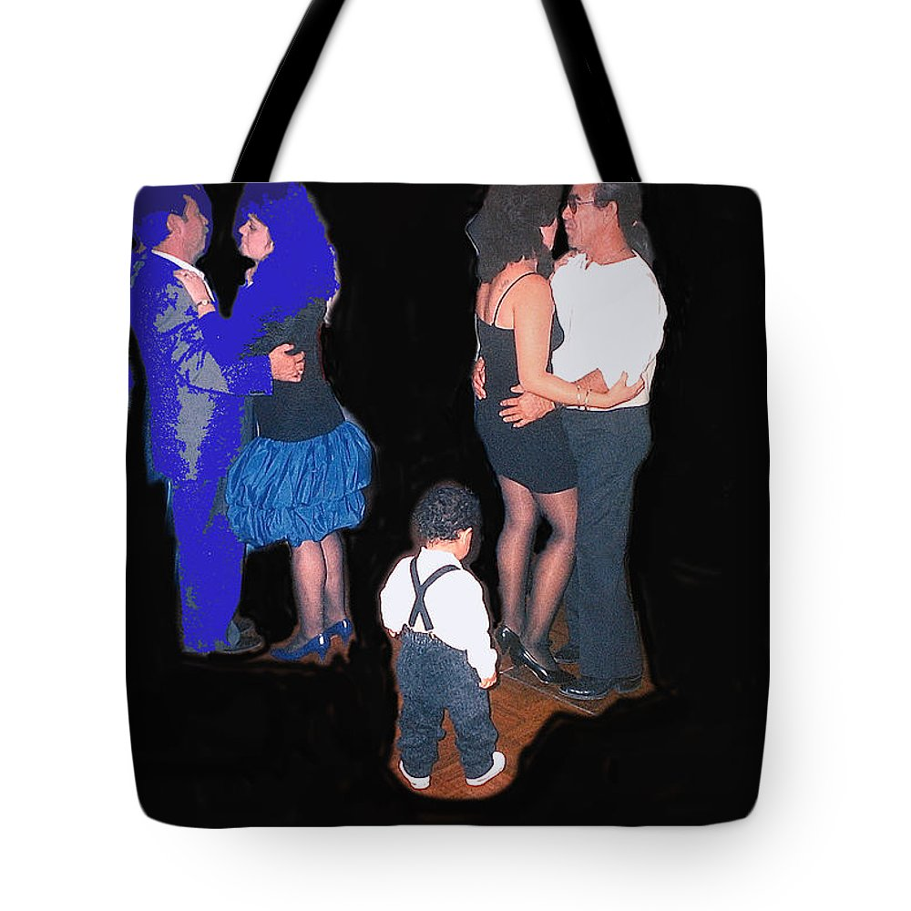 Kevin Howard's Wedding Dancers Tucson Arizona 1990 Hispanics Color Added Tote Bag featuring the photograph Kevin Howard's Wedding Dancers Tucson Arizona 1990-2012 by David Lee Guss