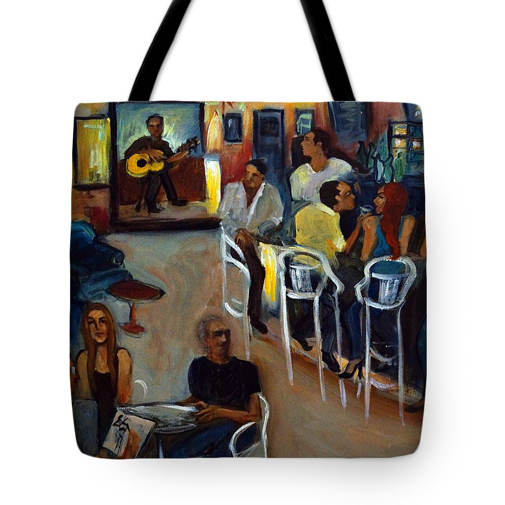 Art Bar Tote Bag featuring the painting Kevro's Art Bar by Valerie Vescovi