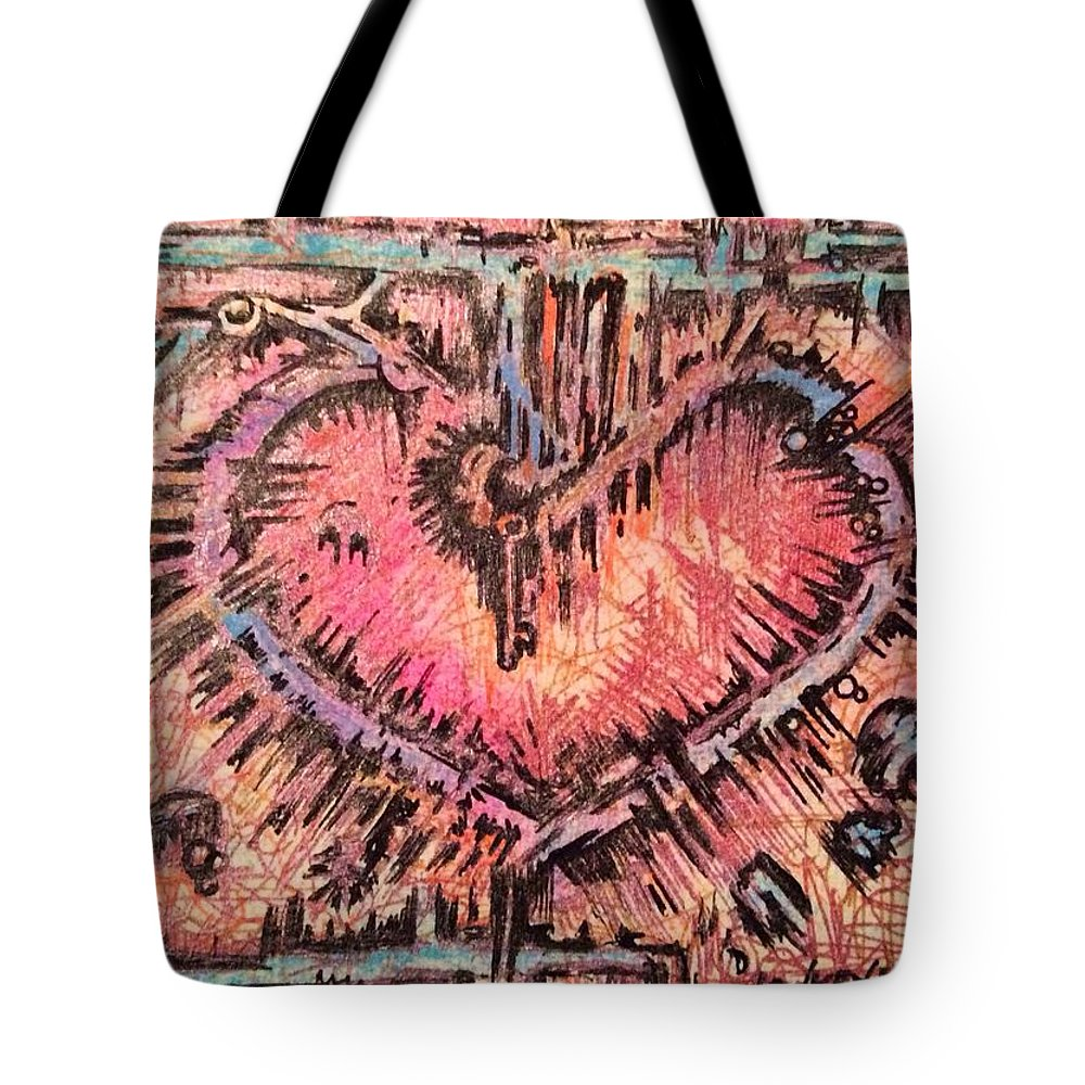 Heart Tote Bag featuring the mixed media Key To Her Heart by Lowkey Luciano