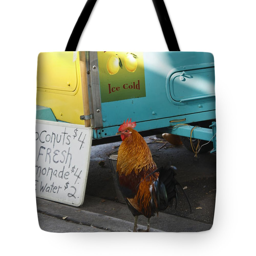Florida Tote Bag featuring the photograph Key West - Rooster Making A Living by Ronald Reid
