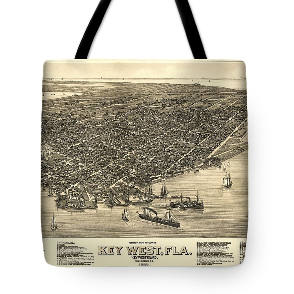 key West Tote Bag featuring the photograph Key West Florida Map 1884 by Daniel Hagerman