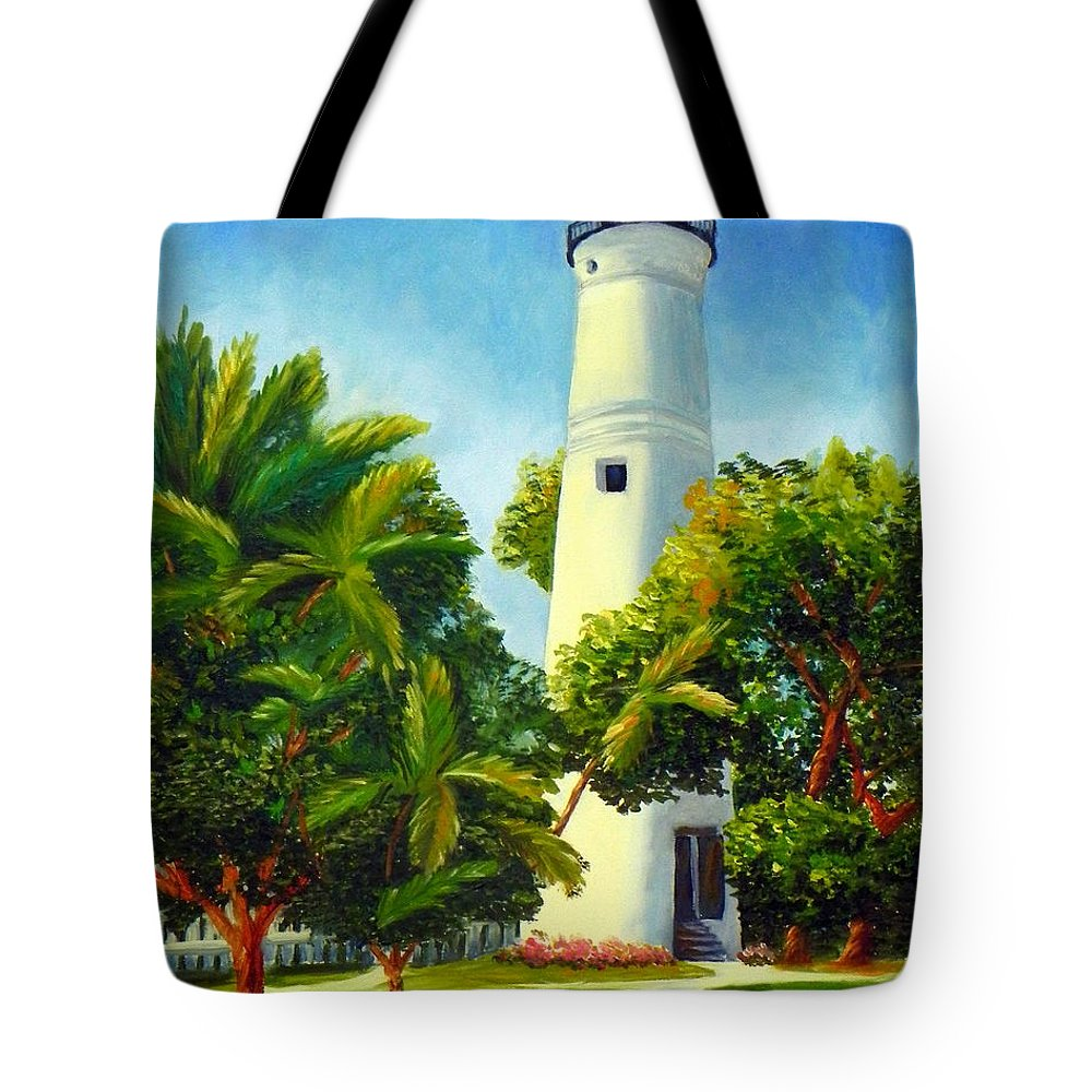 Art Tote Bag featuring the painting Key West Lighthouse by Shelia Kempf