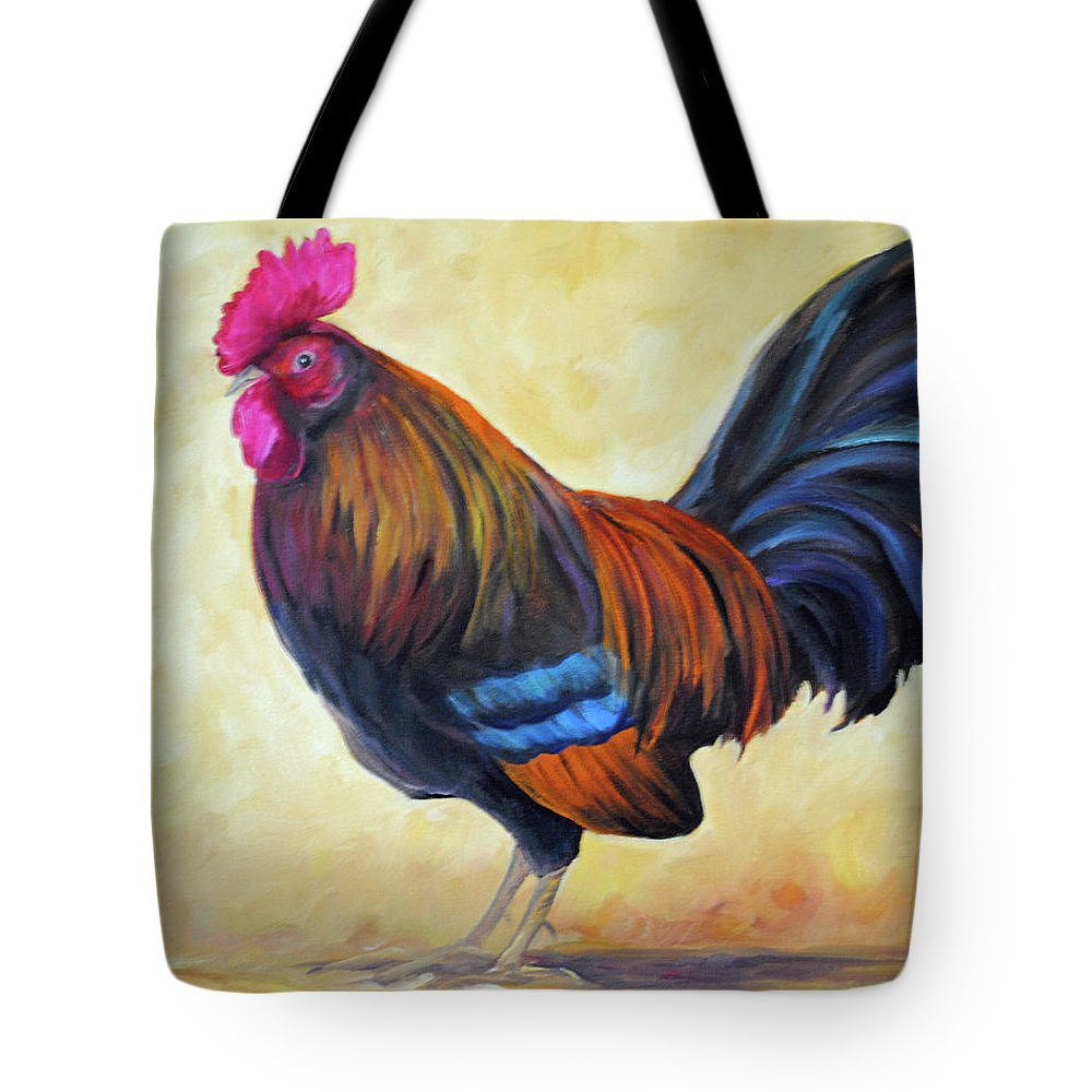Rooster Tote Bag featuring the painting Key West Rooster by Carolyn Shireman