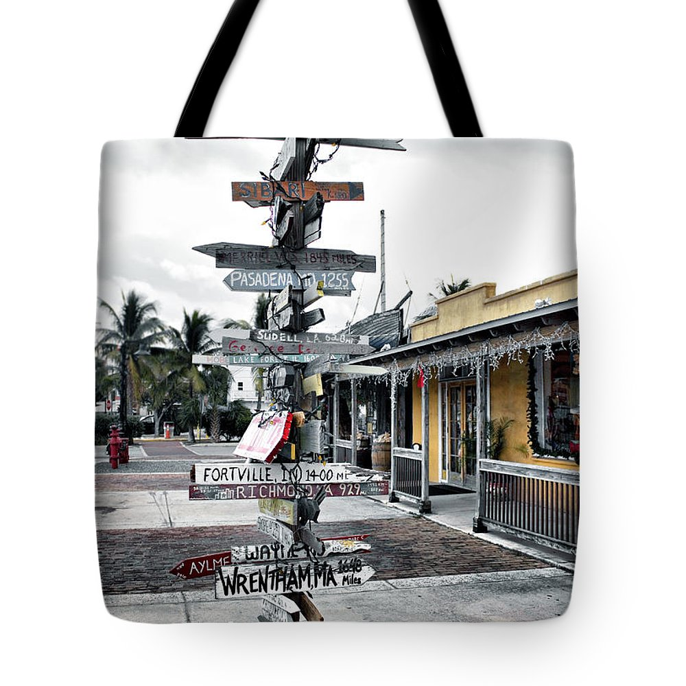 Key West Tote Bag featuring the photograph Key West Wharf by Ellen Heaverlo