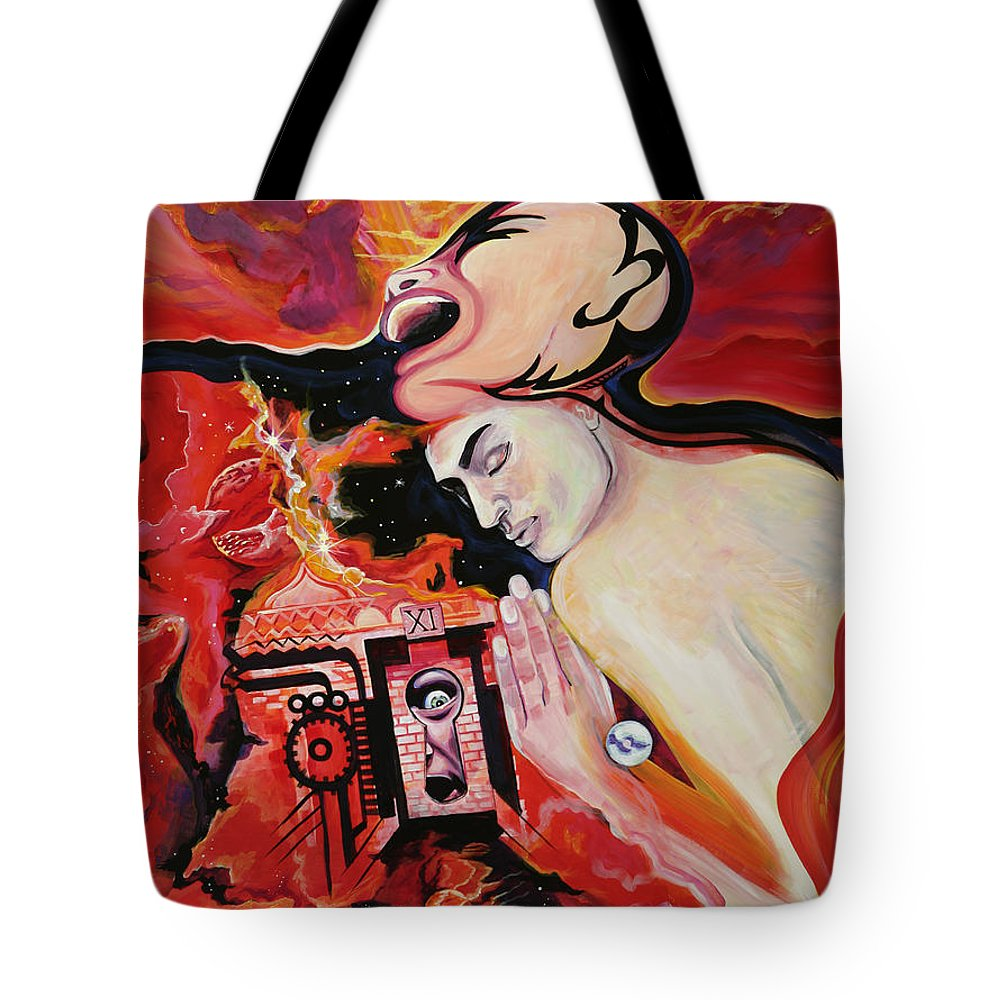 Passion Tote Bag featuring the painting Keyhole by Yelena Tylkina