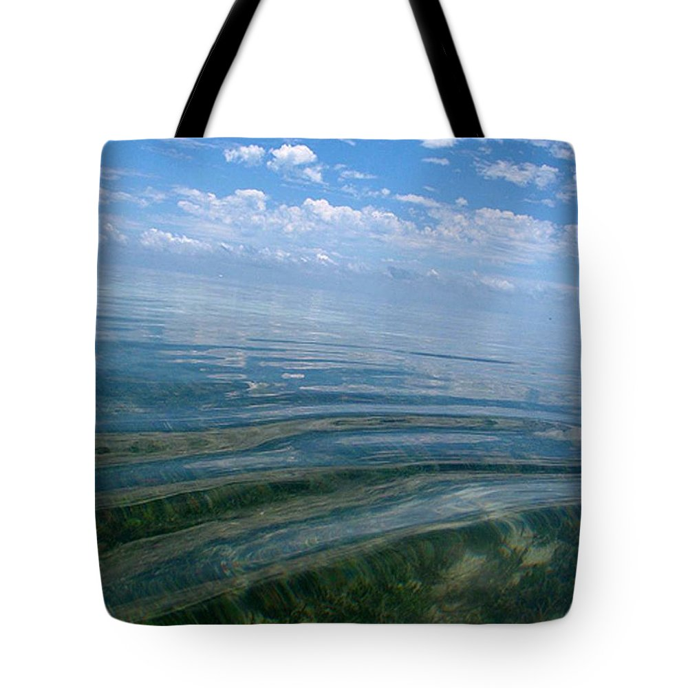 Water Ocean See Through Clear Water Blue Landscape Beach Wave Peace Relax Keys Florida Nature Tote Bag featuring the photograph Keys by AR Annahita