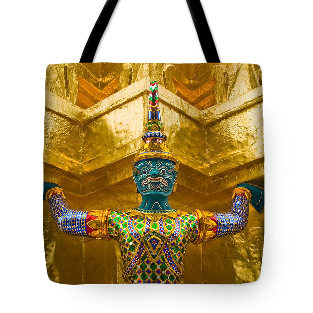 3scape Tote Bag featuring the photograph Khon Guard by Adam Romanowicz