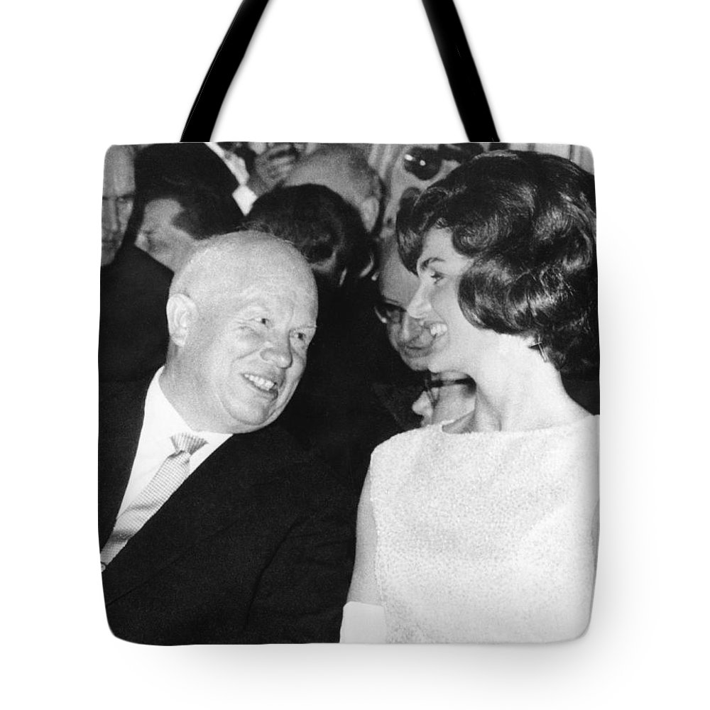 2e6818a990 1950 s Tote Bag featuring the photograph Khrushchev And Jackie Kennedy by  Underwood Archives