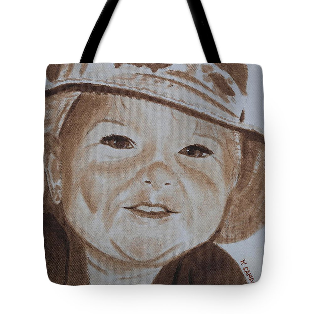 Portraits Tote Bag featuring the painting Kids In Hats - Fishing Trip by Kathie Camara