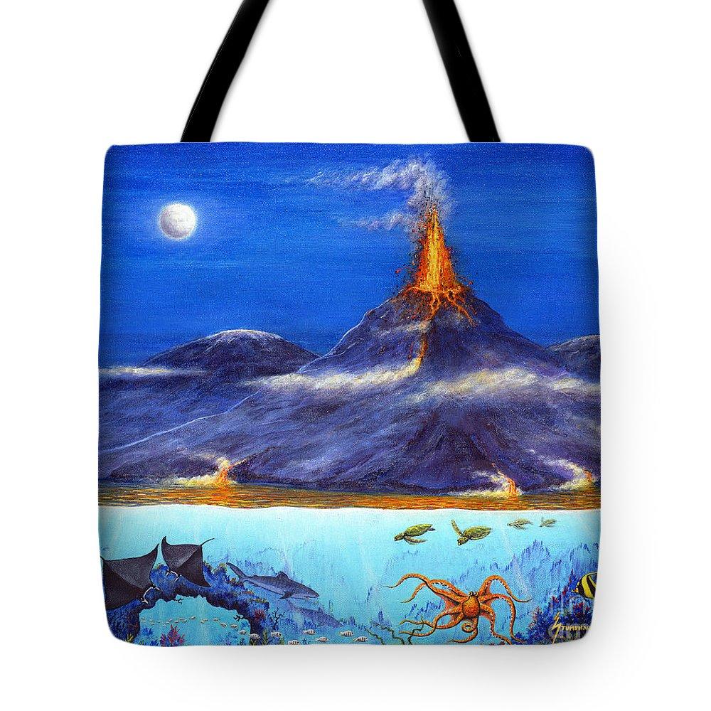 Kilauea Tote Bag featuring the painting Kilauea Volcano Hawaii by Jerome Stumphauzer