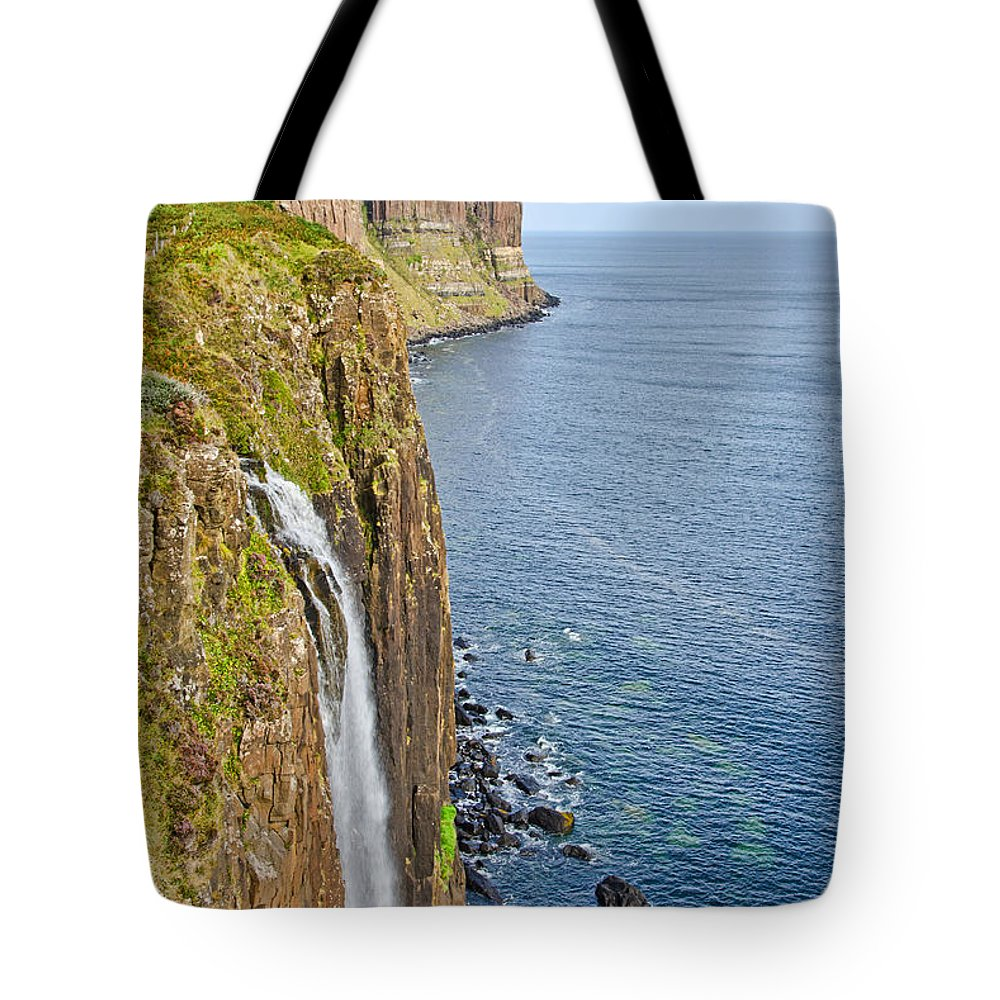 Kilt Rock Tote Bag featuring the photograph Kilt Rock Waterfall by Chris Thaxter