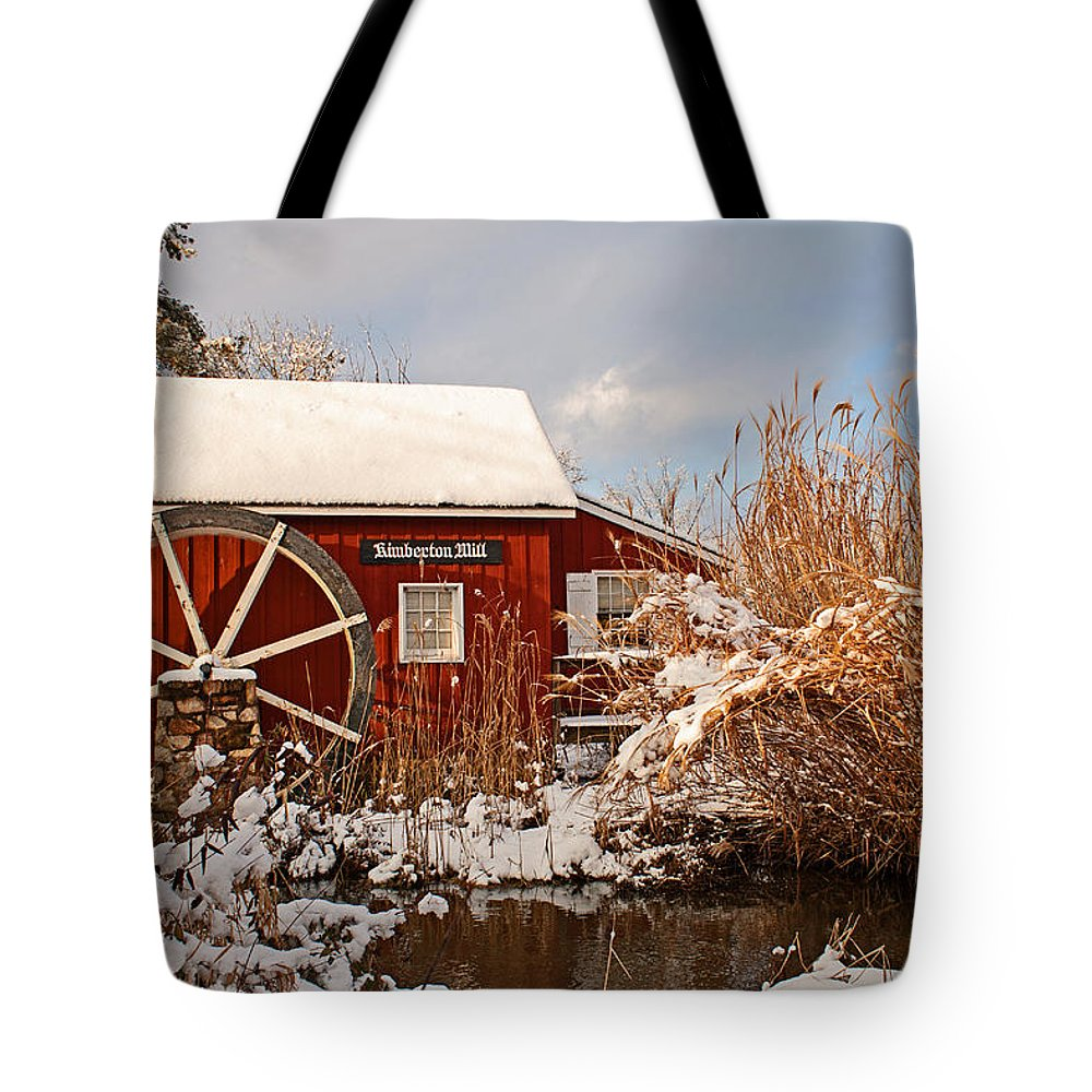 Winter Tote Bag featuring the photograph Kimberton Mill After Snow by Michael Porchik