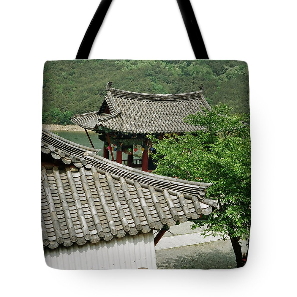 Tranquility Tote Bag featuring the photograph Kimchi Pots, Tiles And Lanterns by Mimyofoto - Serge Lebrun