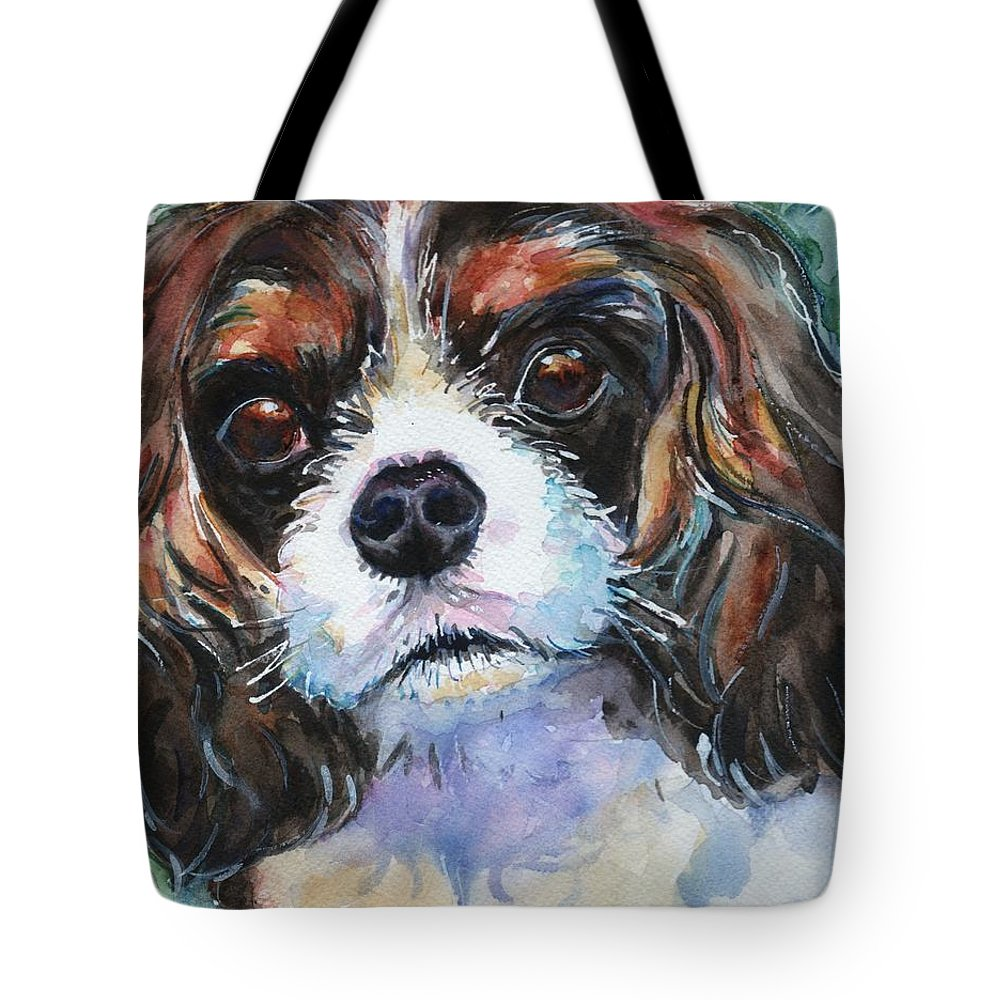 King Charles Cavalier Spaniel Tote Bag featuring the painting King Charles Spaniel by Maria's Watercolor
