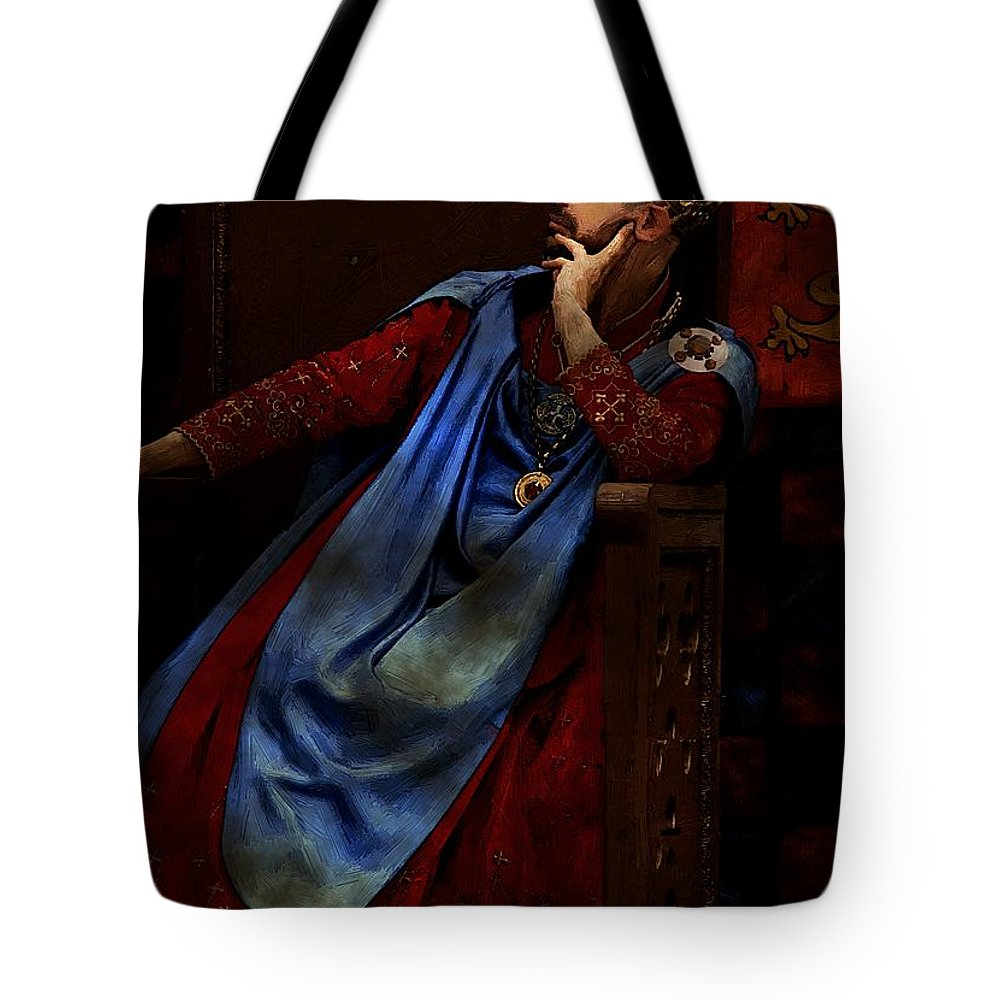 Portrait Tote Bag featuring the painting King John Ponders The Magna Carta by RC DeWinter