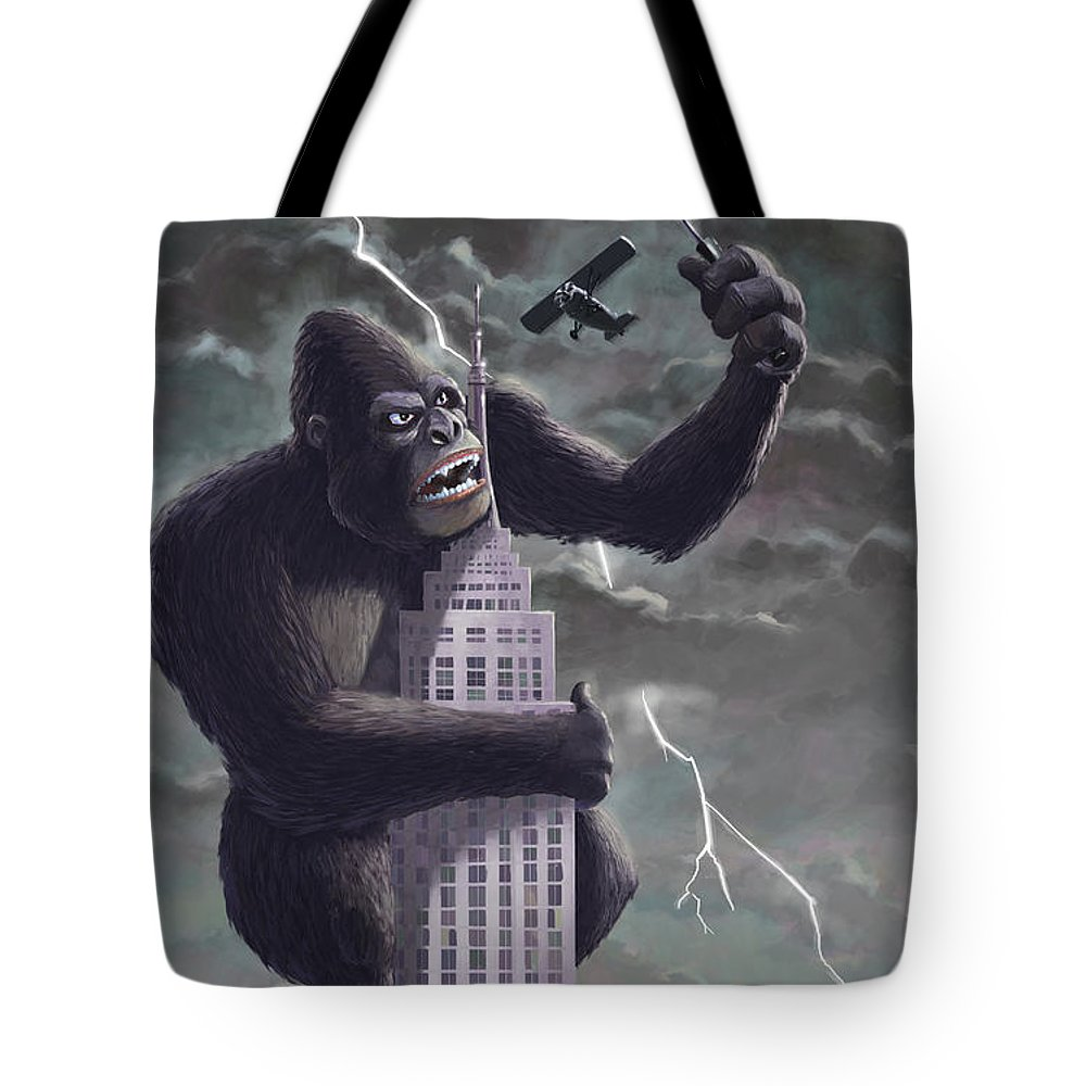 Kong Tote Bag featuring the painting King Kong Plane Swatter by Martin Davey