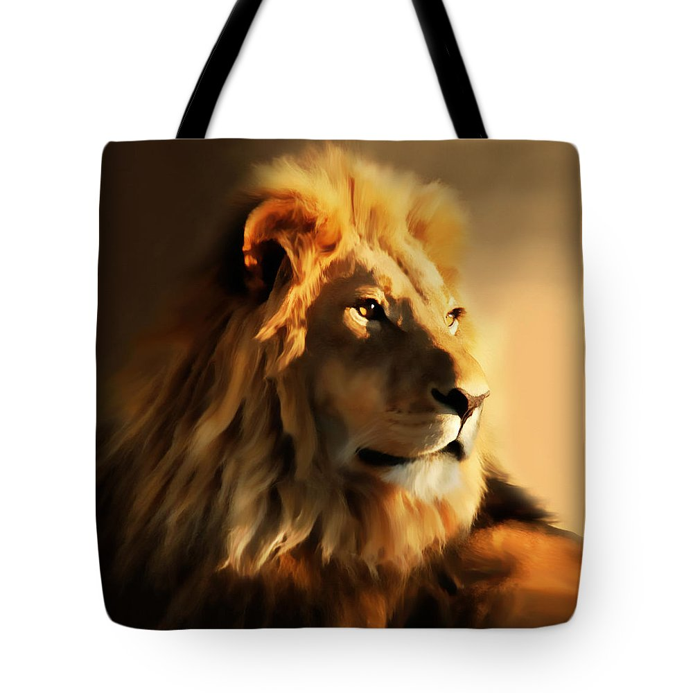 Colorful Tote Bag featuring the painting King Lion Of Africa by Georgiana Romanovna