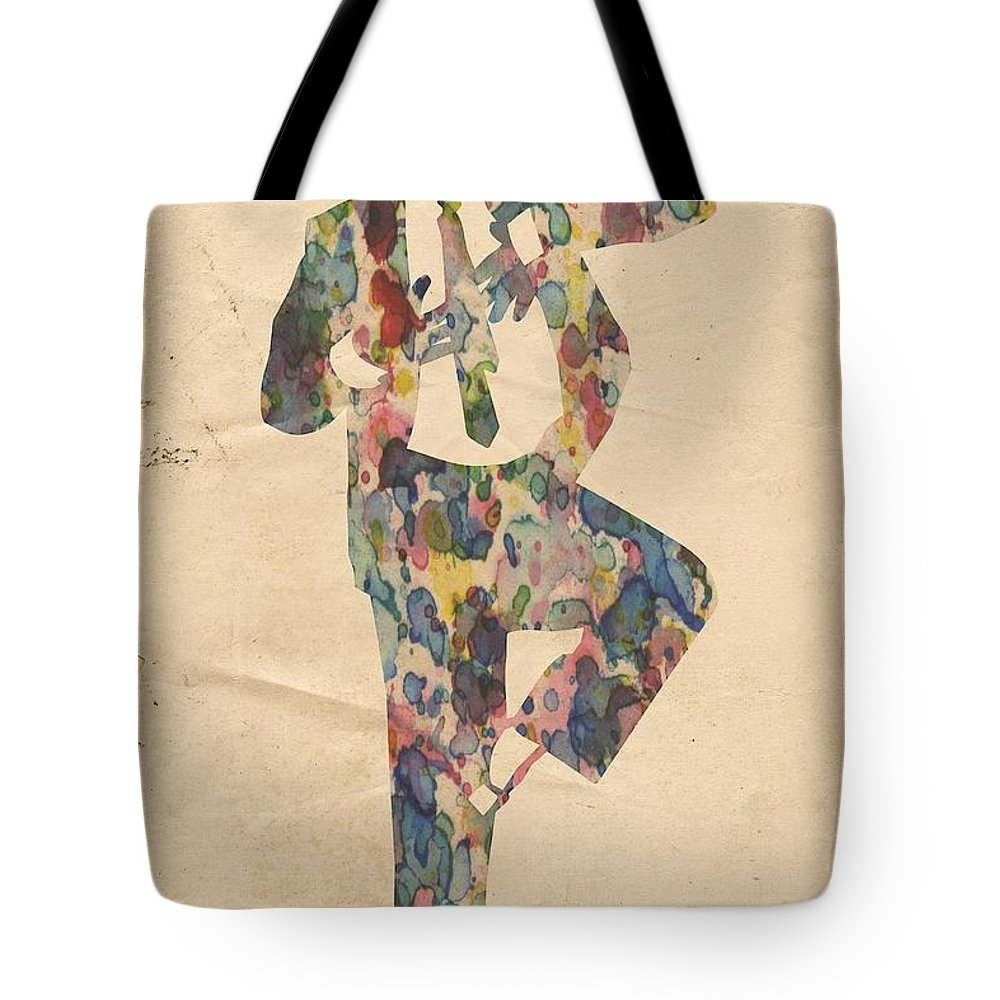 Michael Jackson Tote Bag featuring the painting King Of Pop In Concert No 10 by Florian Rodarte