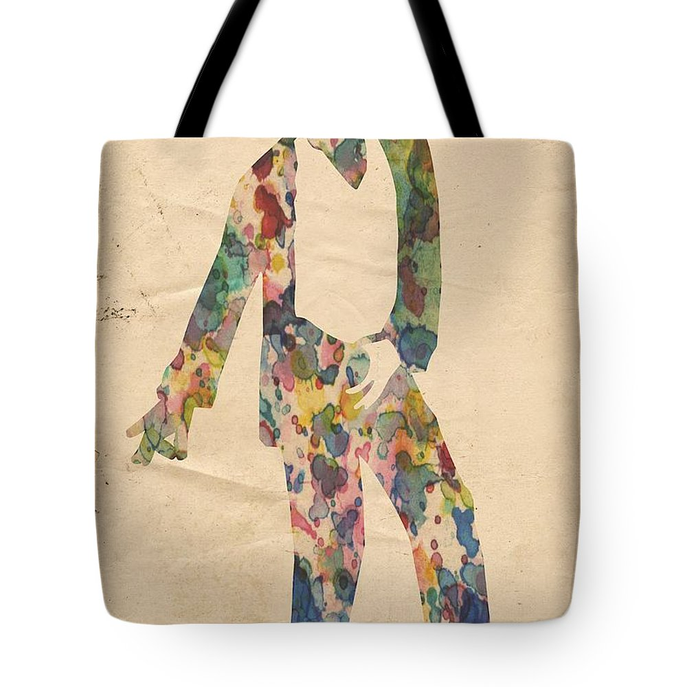 Michael Jackson Tote Bag featuring the painting King Of Pop In Concert No 14 by Florian Rodarte