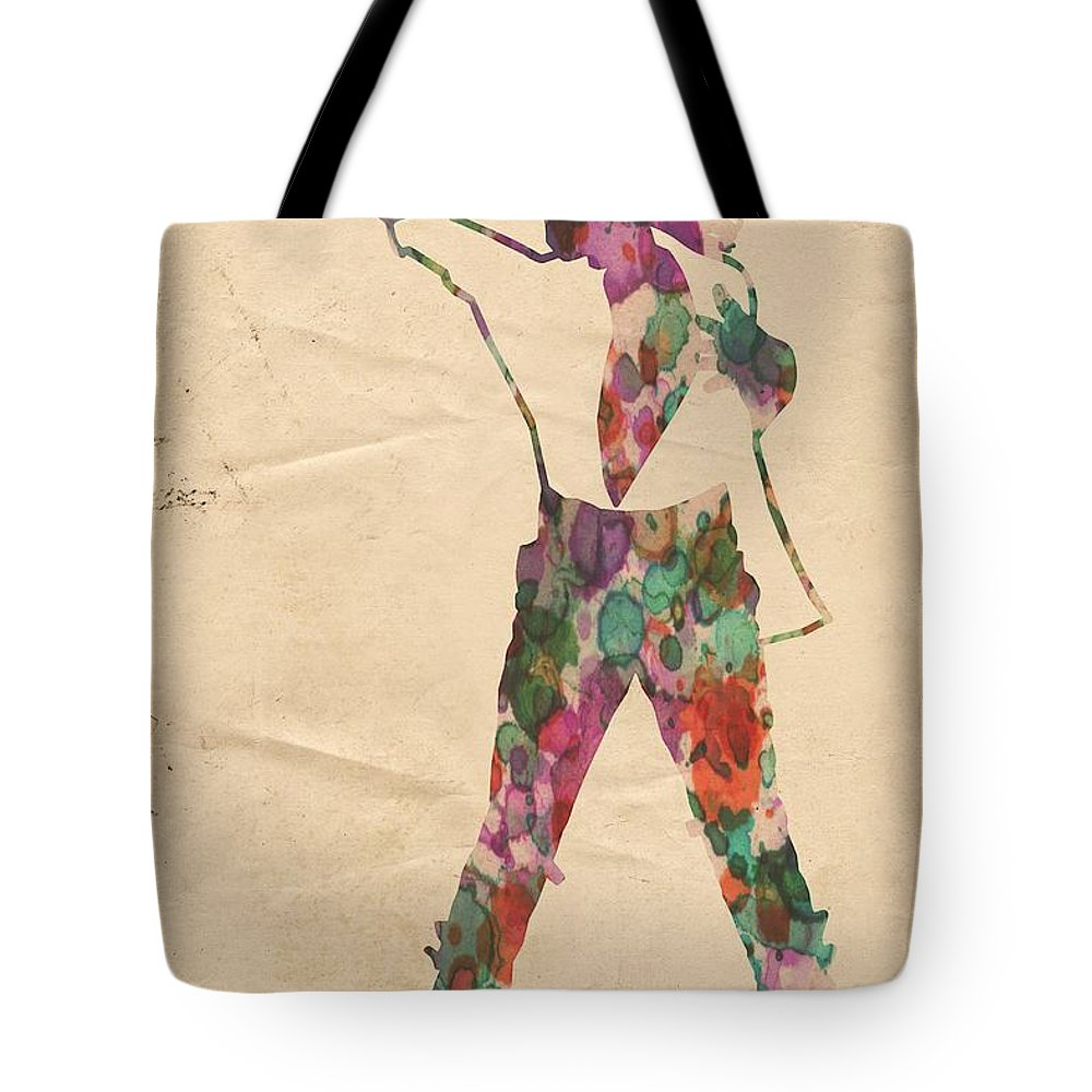 Michael Jackson Tote Bag featuring the painting King Of Pop In Concert No 2 by Florian Rodarte