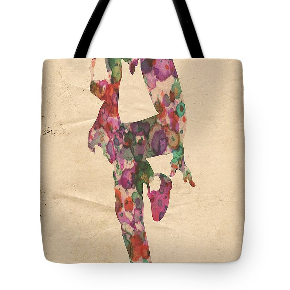 Michael Jackson Tote Bag featuring the painting King Of Pop In Concert No 3 by Florian Rodarte
