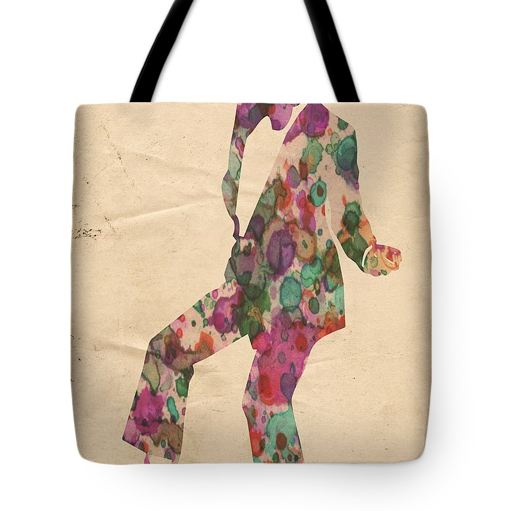 Michael Jackson Tote Bag featuring the painting King Of Pop In Concert No 5 by Florian Rodarte