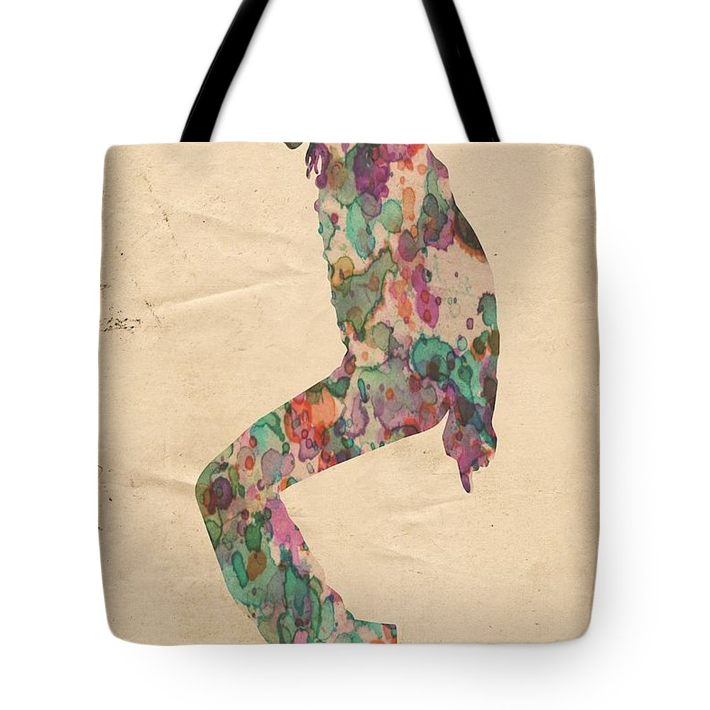 Michael Jackson Tote Bag featuring the painting King Of Pop In Concert No 8 by Florian Rodarte
