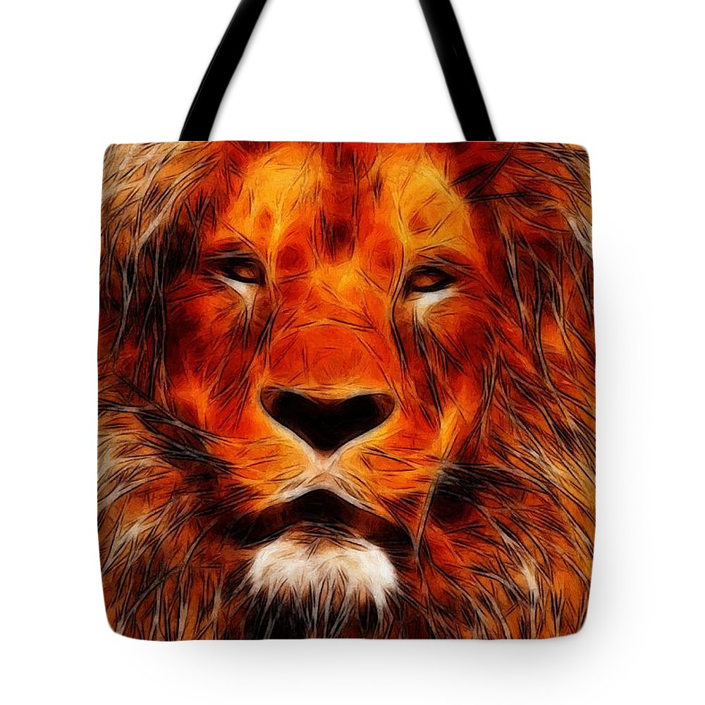 Lion King Portrait Animal Jungle Africa Safari Hunter Zoo Expressionism Impressionism Face Painting Abstract Danger Dangerous Majestic Tote Bag featuring the painting King Of The Jungle by Steve K