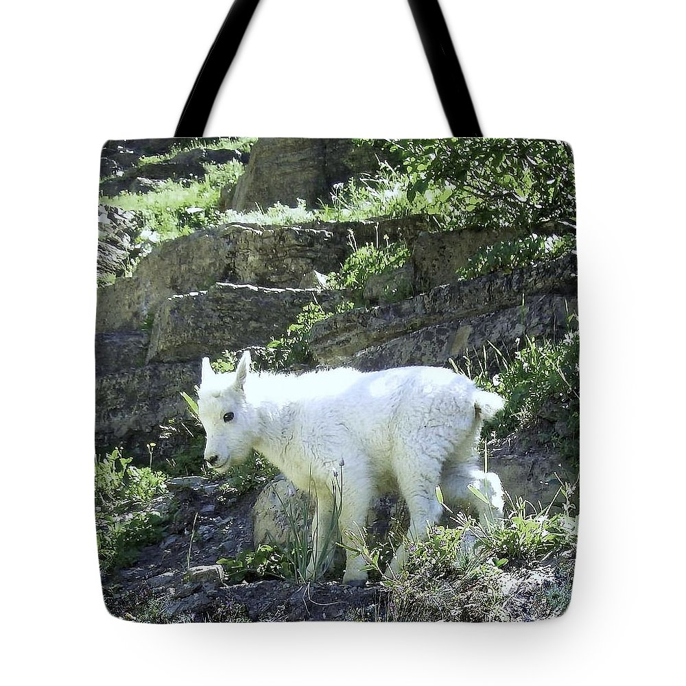 Mountain Goat Photo Tote Bag featuring the digital art King Of The Mountain by Robert Taylor
