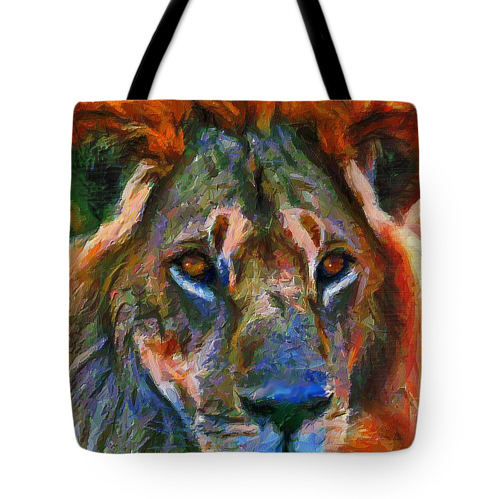 Lion Tote Bag featuring the mixed media King Of The Wilderness by Georgiana Romanovna