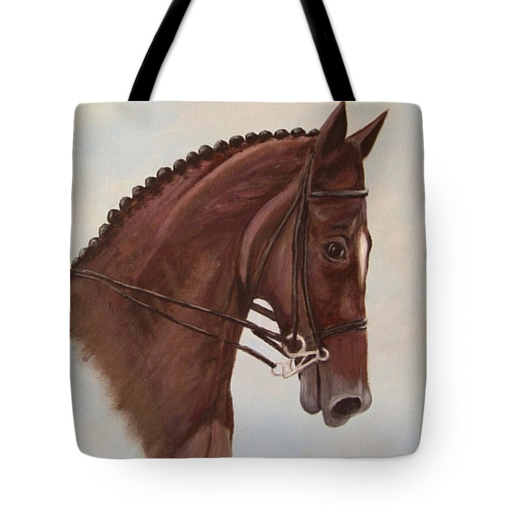 Horse Tote Bag featuring the painting Kingd'azur by Quwatha Valentine