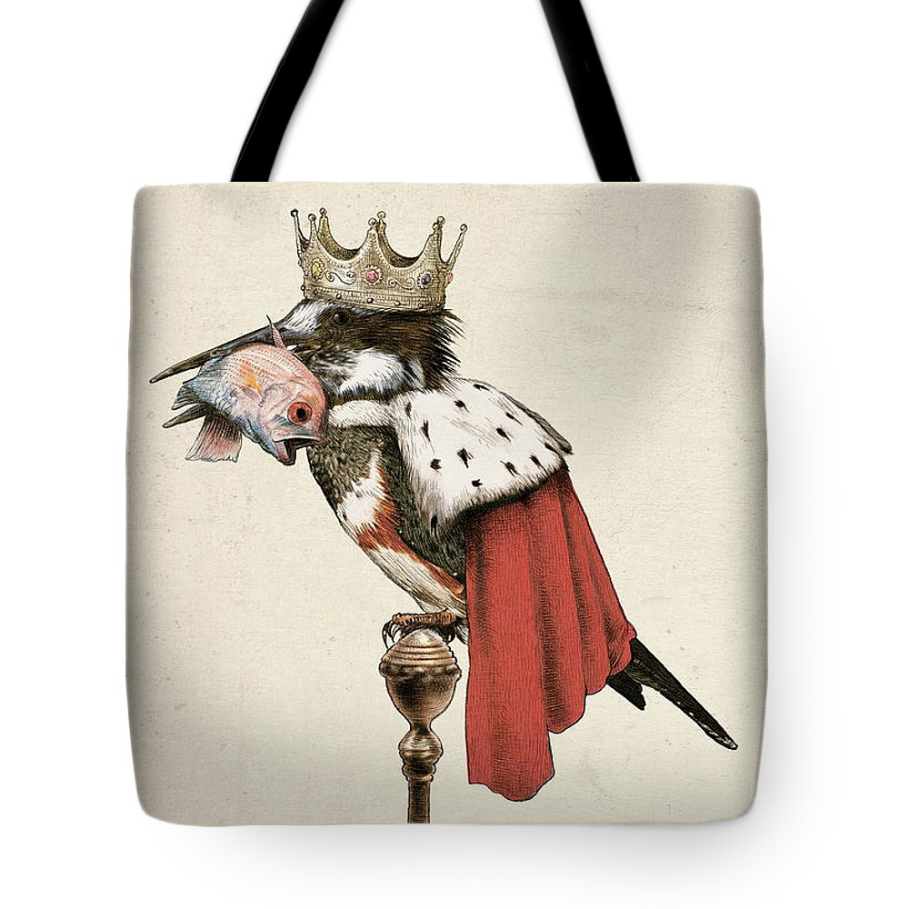 Kingfisher Tote Bag featuring the drawing Kingfisher by Eric Fan
