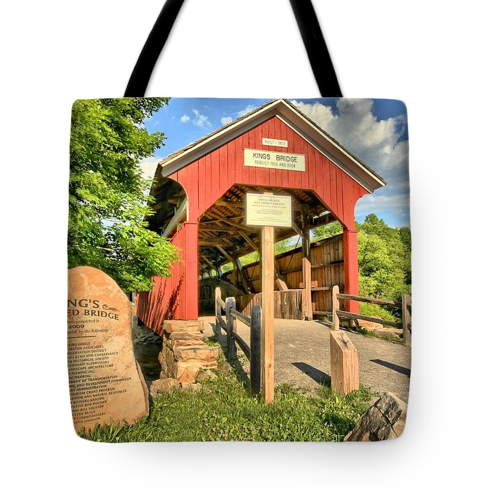 Covered Bridge Tote Bag featuring the photograph Kings Covered Bridge by Adam Jewell