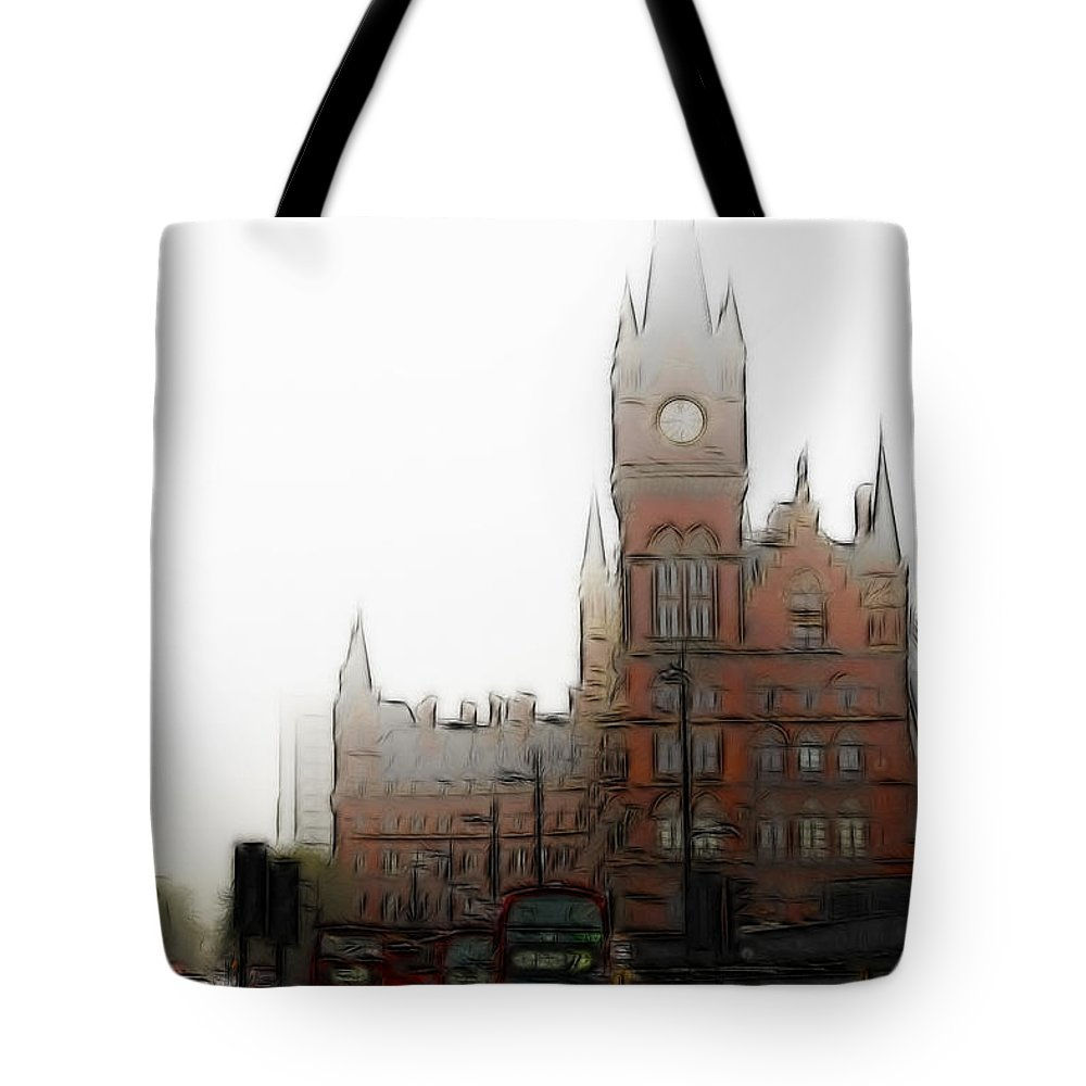Kings Cross St Pancras London Digital Art Rail Station Street City Tote Bag featuring the digital art Kings Cross by Steve K
