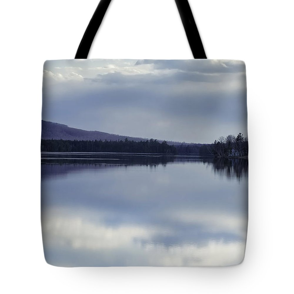 Kingsbury Tote Bag featuring the photograph Kingsbury Pond Maine - April by Lisa Bryant