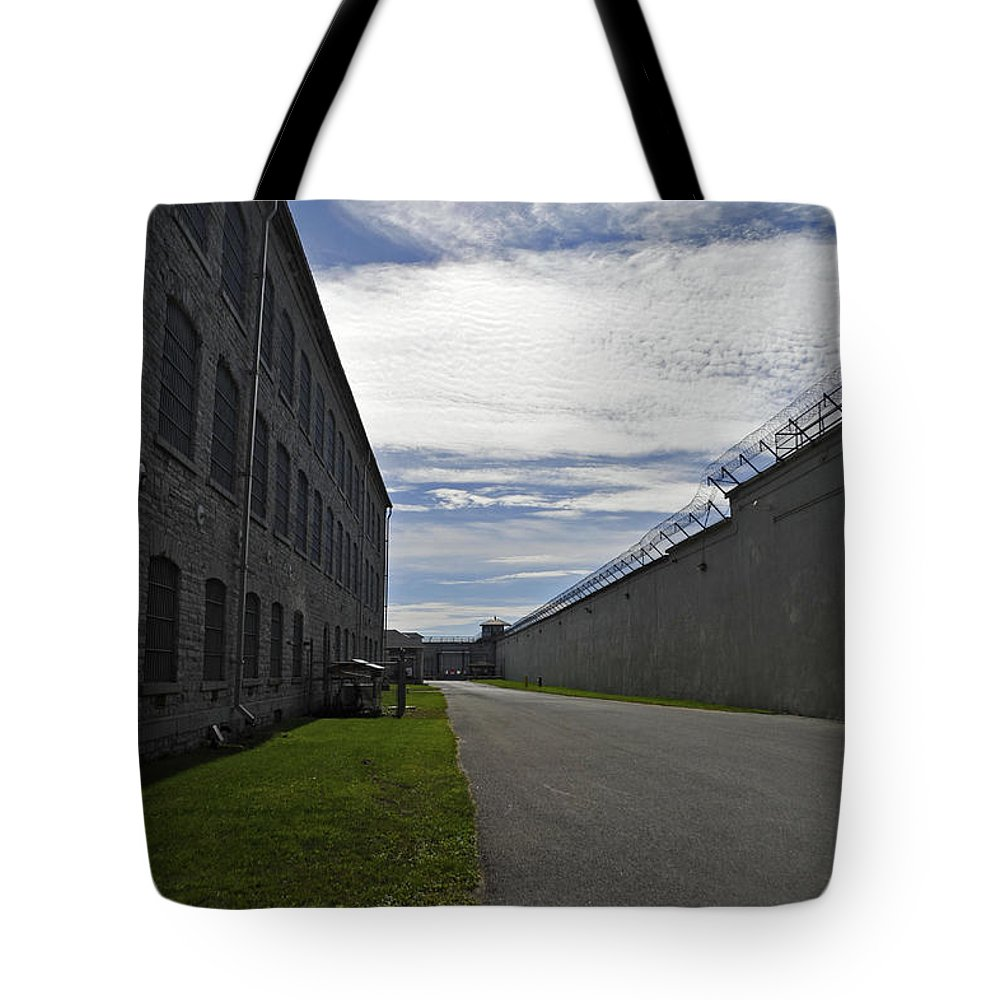 Kingston Penitentiary Tote Bag featuring the photograph Kingston Penitentiary View To The Sallyport by Elaine Mikkelstrup