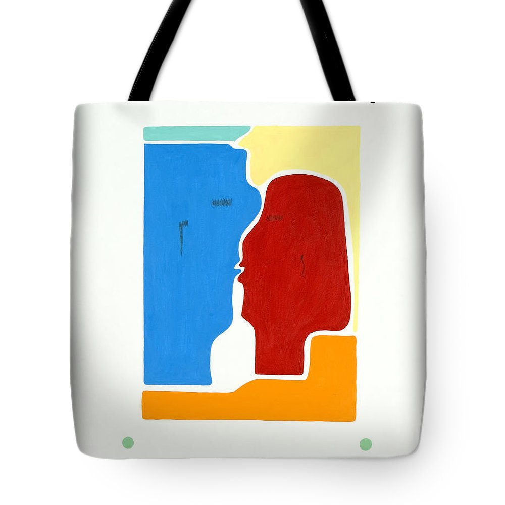Kiss - Love - Forever - Valentine - Valentine\'s Day - Anniversary - Engagement - Marriage - Soulmates - Aura Of Two Lovers - Love Meditation - Tender Love - Eternity Embrace - Man And Woman - Gaga For Love - Amour Gaga - Twilight Spirits - Twilight Tote Bag featuring the painting Kiss by Elle Nicolai