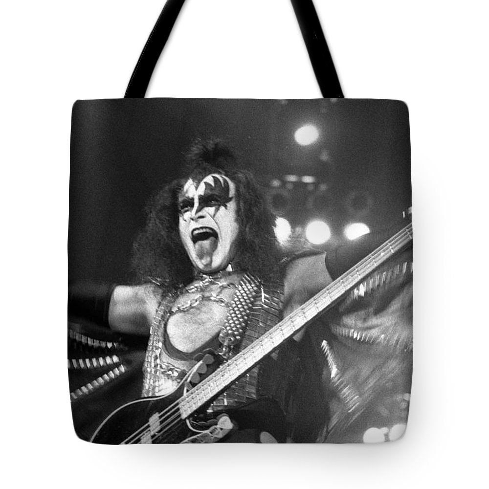 Gene Simmons Tote Bag featuring the photograph Kiss-gene-gp11 by Timothy Bischoff