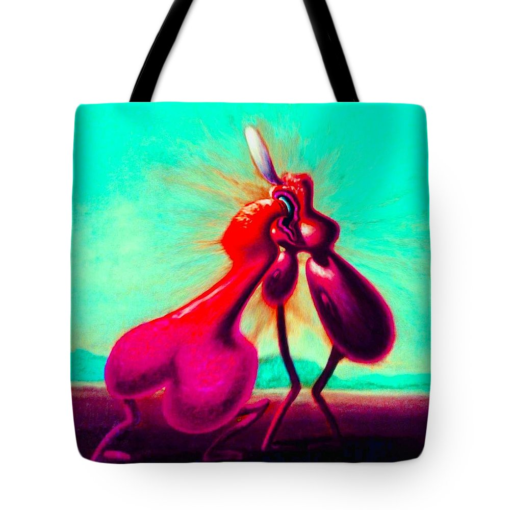 Genio Tote Bag featuring the mixed media Kiss Of Joy by Genio GgXpress