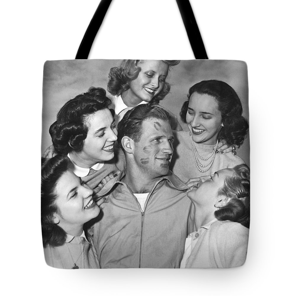 1930s Tote Bag featuring the photograph Kissoff For The Navy by Underwood Archives
